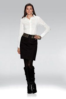 """ETCETERA - """"ATOMIC"""" $155 A-line jean skirt with stud-trimmed waist. Pair it with our """"SUPERNOVA"""" $155 Woven button front stretch blouse with jersey back."""