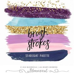 Items similar to Midnight Purple Brush Strokes Clip Art Purple Color Palettes, Gold Color Scheme, Gold Palette, Colour Pallete, Color Combos, Color Schemes, Purple And Gold Wedding, Pink And Gold, Glitter Paint