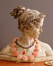 Love this idea - I have a Mozart bust at home that I have all of my necklaces and headbands on. Great for funky storage and you can see all that you have at once when putting together outfits and accessories. I'll post pictures of my Mozart soon :) Necklace Storage, Jewellery Storage, Jewelry Organization, Jewellery Display, Jewelry Box, Vintage Jewelry, Jewelry Ideas, Necklace Display, Necklace Holder