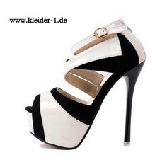 Stiletto Sandalen High Heels in Schwarz Weiss