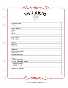 This Wedding Planner Invitations worksheet has room for you to keep track of all of your printing needs, ranging from invitations to cards to inserts, and even your wedding program. Free to download and print