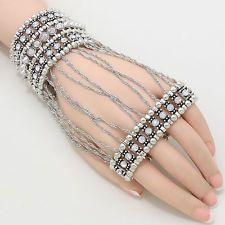 Crystal Hand Armor Gauntlet Glove Spike Metal Bead Silver Chain Stretch Bracelet