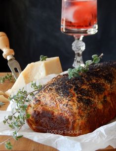 Food for thought: Κέικ Herb Bread, Food For Thought, Garlic, Food And Drink, Herbs, Yummy Food, Meat, Baking, Recipes