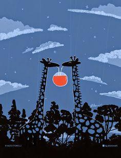 Aldo Tonelli / Ilustraciones: Jugo de luna (roja) - Ilustración digital