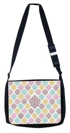 Teal and Purples damask Rosie Parker Inc. TM Medium Sized Messenger Bag 11.75' x 15.5' and 4.5' x 8.5' Pencil Case SET ** Find out more about the great product at the image link. (This is an Amazon Affiliate link and I receive a commission for the sales)