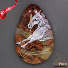 Women Jewelry  Hand Painted Horse Pendant Natural Gemstone  Multi Color ZL805769 #ZL #Pendant