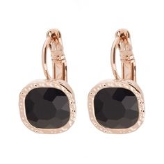 Ohrringe ROSEGOLD - hängend mit Schmuckstein in SCHWARZ ❤ Quadratische Ohrhänger ✓ mit hochwertigem Brisurverschluss ✓ verschiedene Farben.  Jetzt ansehen! rose gold earrings black