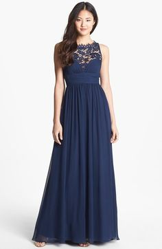 Aidan Mattox Embellished Lace & Silk Chiffon Gown (Online Only) available at #Nordstrom