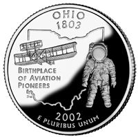 Ohio became the State Ohio's state quarter depicts the Wright Flyer. The Wright brothers were Ohio natives. Astronaut Neil Armstrong was also an Ohio native. Ohio is the birthplace of Aviation Pioneers. United States Mint, 50 States, Wright Flyer, The Buckeye State, State Of Ohio, Wapakoneta Ohio, Dayton Ohio, Ohio Buckeyes, State Mottos
