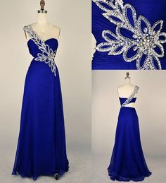 Cobalt blue PROM DRESS with silver embellishment