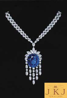 Neck piece with blue diamond