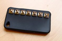 Black Studded IPhone 4 Case by SpikesnSeams on Etsy