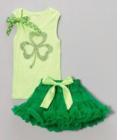 Look at this #zulilyfind! Green Clover Tank & Emerald Pettiskirt - Infant, Toddler & Girls by So Girly & Twirly #zulilyfinds