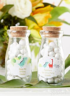 Put a little vintage style into your dino-mite party with Kate Aspen's Vintage Milk Bottle Favor Jar! These guest gifts may be filled with candies or other small treats, and they're kept safe in the glass milk bottle favor jar using a real cork topper. Vintage Milk Bottles, Glass Milk Bottles, Glass Jars, Birthday Party Favors, Birthday Parties, Favour Jars, Mini Milk, Kate Aspen, Guest Gifts