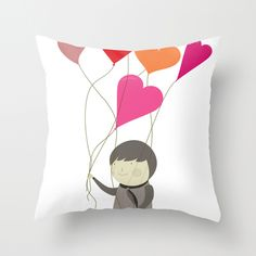The Love Balloons Throw Pillow Love Balloon, Printed Cushions, Art For Kids, Balloons, Textiles, Throw Pillows, Poufs, Drawings, Sewing Ideas