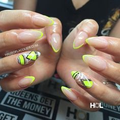 Neon Yellow, Black and White Negative Space Nails