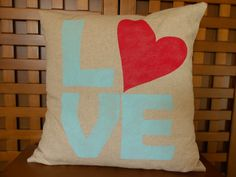 Love heart pillow cover in natural/beige linen by LaRaeBoutique, $39.00