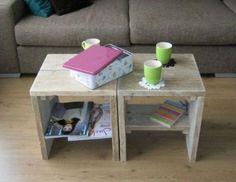 Steigerhout. Multifunctioneel tafeltje, krukje, voetbankje