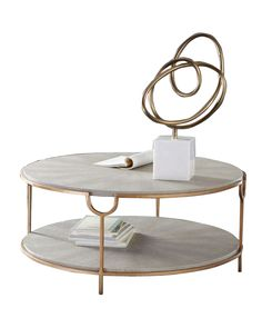 Marcella Paint Dipped Round Spindle Tray Top Coffee Table