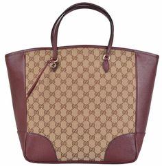 New GUCCI Women's BREE GG Guccissima Beige Wine Purse Handbag Tote #Gucci #TotesShoppers