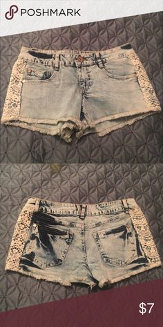 Acid wash denim shorts With lace/crochet detail on the sides. New never worn Wet Seal Shorts Jean Shorts