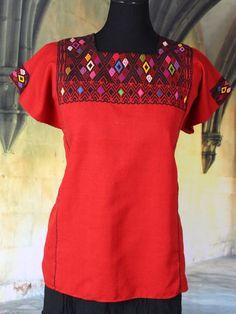 Bold Red & Black Huipil Larrainzar Chiapas Mexico Hand Woven Mayan, Boho, Hippie #Handmade #Huipiltunic