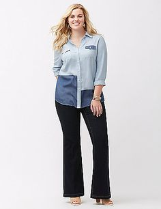 Fit for him but waaay better on you, the boyfriend shirt keeps the love flowing all season in a wear-everywhere patchwork chambray. Oversized button-down keeps the classic fit just right over skinnies or leggings, with a high-low hem for extra coverage. Long sleeves with 3-button cuffs made for rolling. Chest pockets. lanebryant.com