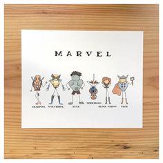 M A R V E L  P R I N T // marvel print, superhero print, wall art, hulk, deadpool, thor, wolverine, comic, spiderman, marvel, avengers