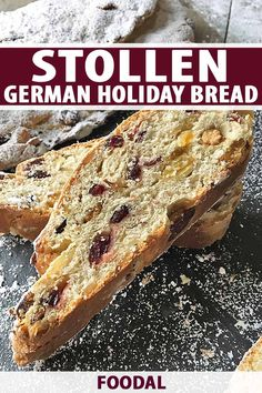 Make stollen this winter, a German Christmas bread. Dusted with powdered sugar to resemble snow, it is perfect for the holidays. Read more now on Foodal. Holiday Bread, Christmas Bread, German Christmas, Christmas Foods, Christmas Baking, German Stollen, German Bread, Stollen Recipe, Dessert Recipes
