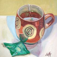 """Tea Reflections, Oil on Canvas, 8"""" x 8"""", ©2014 Jennie Traill Schaeffer. Embedded image permalink"""