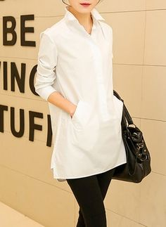 Reto Informal Algodão Colarinho Manga comprida Blusas (1045808) @ floryday.com Cool Outfits, Casual Outfits, Fashion Outfits, Winter Blouses, Classic White Shirt, Blouses For Women, Ladies Blouses, Women's Blouses, Long Sleeve And Shorts