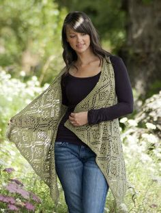 Free knitting pattern for Rose Trellis Shawl Vest and more vest knitting patterns