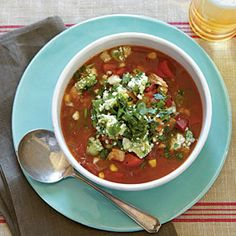 Chili-Spiced Chicken Soup with Stoplight Peppers and Avocado Relish | MyRecipes.com