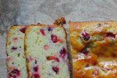 meyer lemon yogurt cake with fresh cranberries