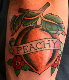 Peach tattoo by Kasper (traditional tattoo, rose tattoo, all star tattoo) Red Ink Tattoos, Tattoos Skull, Time Tattoos, Body Art Tattoos, Sleeve Tattoos, Cool Tattoos, Tatoos, All Star Tattoo, Tattoo You