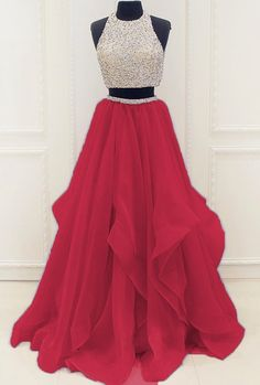 Popular Two Pieces Beaded Organza Prom Dress