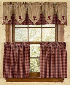 VHC Primitive Arlington Cafe Kitchen Curtains Valance Rod Pock Blue Cotton 16x72