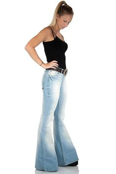 Women flared jeans Star Bright extrem used washed
