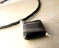 Mens Necklace Onyx Unisex Banded Onyx Braided by BellinaCreations, $40.00