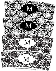 FREE Printables!  Black and White Monogram Votive Wedding Candle Wraps» from PartySimplicity.com