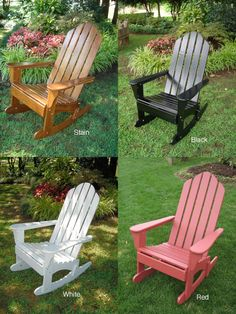 ---  -  -   Enhance your patio decor with this Adirondack rocker    . -  -   Beautiful outdoor furniture is  constructed from China oak    . -  -   Patio chair features UV weather protection    . -  -   Available in stain, black, white and red color options    .
