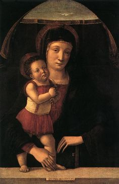 Giovanni BELLINI.  Madonna with Child 1450-55 Tempera on wood, 47 x 31,5 cm Civico Museo Malaspina, Pavia