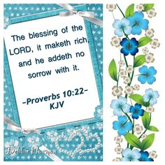 The blessing of the LORD, it maketh rich, and he addeth no sorrow with it. ~Proverbs 10:22~ KJV
