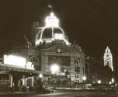 Flinders St. and defunct Princes' Bridge Railway Stations Queen's visit to Melbourne Australia 1954