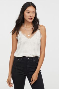 6bce802cc374 Satin Camisole Top with Lace