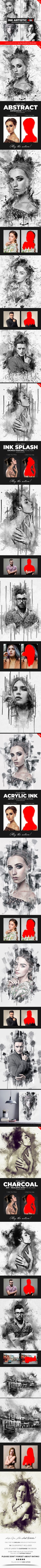 Ink Artistic - 4in1 Photoshop Actions Bundle