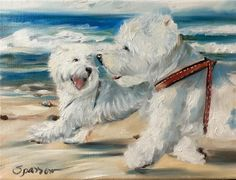 SPARROW West Highland Terrier dog west dogs beach summer ocean sand surf art