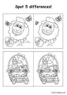 FREE Easter printables for kids. Spot the differences. Lamb, easter eggs. #easter #differences #worksheets #printables #kids #free #123kidsfun