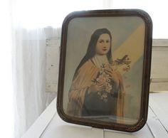 Antique Religious Framed Print Catholic saint by VandyleeVintage