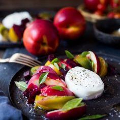 Necatarine tomato beet and buratta salad with a white balsamic vinaigrette dressing | www.feastingathome.com